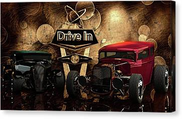 Canvas Print featuring the photograph  Drive In by Louis Ferreira