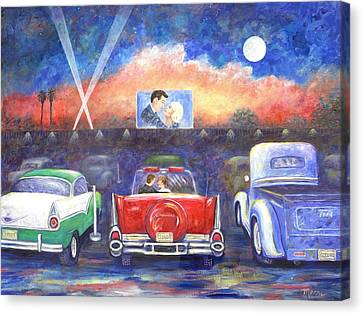 Drive-in Movie Theater Canvas Print by Linda Mears