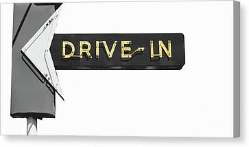 Drive-in Retro Sign Canvas Print by Mindy Sommers