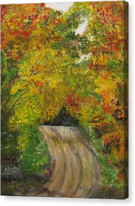 Canvas Print featuring the painting Drive Into Fall by Trilby Cole