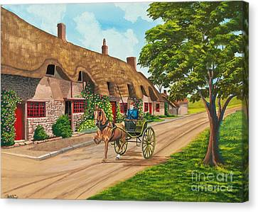 Driving A Jaunting Cart Canvas Print by Charlotte Blanchard