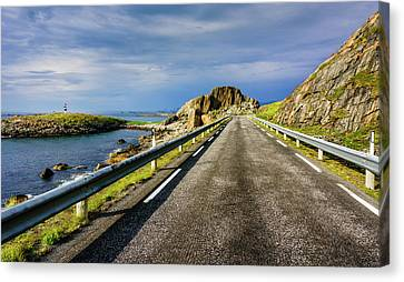 Canvas Print featuring the photograph Driving Along The Norwegian Sea by Dmytro Korol