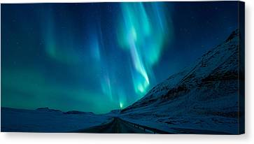 Winter Light Canvas Print - Driving Home by Tor-Ivar Naess