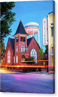 Driving Through 2nd And A Street - Bentonville Arkansas Canvas Print by Gregory Ballos