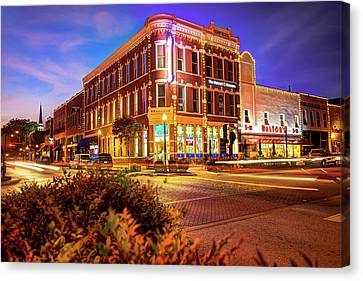 Driving Through Downtown - Bentonville Arkansas Town Square Canvas Print by Gregory Ballos
