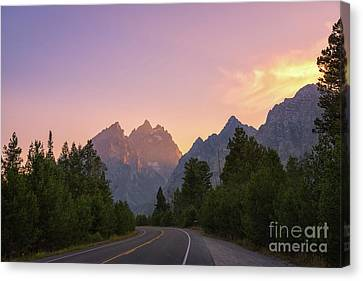 Driving Through The Tetons Canvas Print by Michael Ver Sprill
