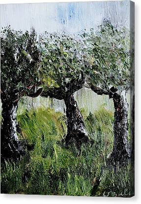 Canvas Print featuring the painting Drizzle by Evelina Popilian