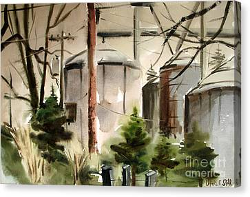 Canvas Print featuring the painting Drizzle Mists Midst Furry Pines Plein Air by Charlie Spear