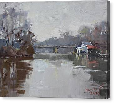 Drizzling At Tonawanda Canal  Canvas Print by Ylli Haruni