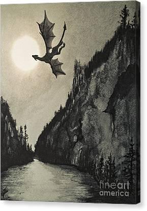 Canvas Print featuring the painting Drogon's Lair by Suzette Kallen