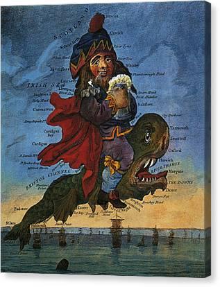 Droll Map Of England 1795 Canvas Print by Daniel Hagerman