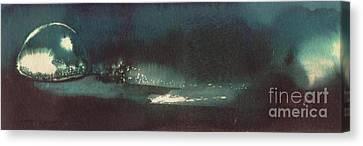 Canvas Print featuring the painting Drop Of Water by Annemeet Hasidi- van der Leij