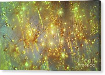Red Green And Gold Abstracts Canvas Print - Droplets And Stars II By Kaye Menner by Kaye Menner