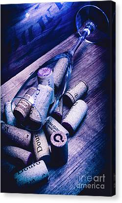 Dropped Champagne Flute With Wine Corks Canvas Print by Jorgo Photography - Wall Art Gallery
