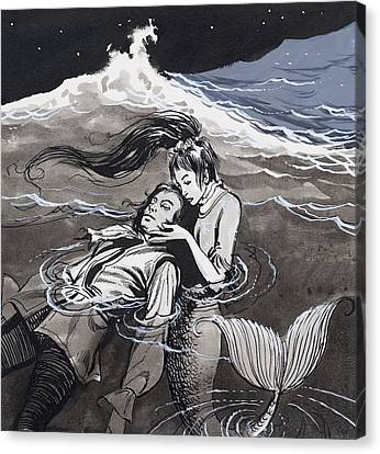 Lost At Sea Canvas Print - Drowned Man Being Assisted By A Mermaid by English School
