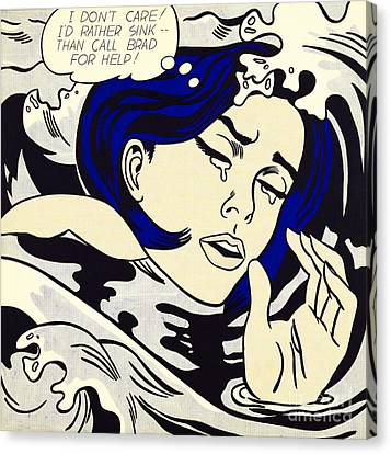 Drowning Girl Canvas Print by Roy Lichtenstein