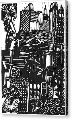 Drowning In Metropolis Canvas Print by Darkest Artist