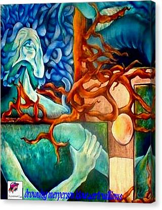 Canvas Print featuring the painting Drowning Merperson by Carol Rashawnna Williams