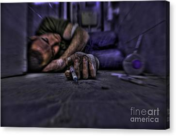 Drug Addict Shooting Up Canvas Print by Guy Viner