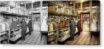 Drugstore - Exact Change Please 1920 - Side By Side Canvas Print by Mike Savad