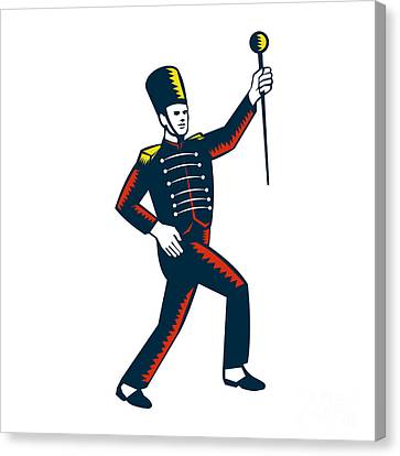 Drum Major Marching Band Leader Woodcut Canvas Print by Aloysius Patrimonio