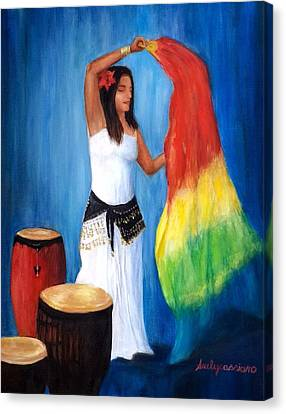 Drumming And Dancing Canvas Print by Suely Cassiano