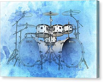 Drums Blue Background Canvas Print by Pablo Franchi