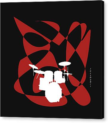 Drums In Black Strife Canvas Print by David Bridburg