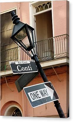 Drunk Street Sign French Quarter Canvas Print