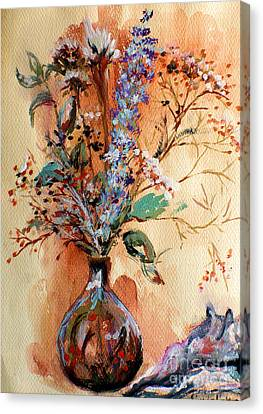 Canvas Print featuring the painting Dry Flowers by Linda Shackelford