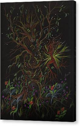 Canvas Print featuring the drawing Dryad Brings News by Dawn Fairies