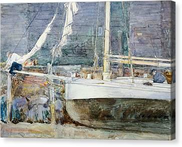 Drydock, Gloucester Canvas Print by Childe Hassam