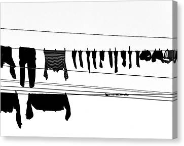 Drying Laundry On Two Clothesline Canvas Print by Massimo Strazzeri Photography