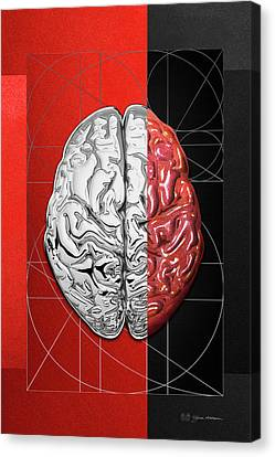 Dualities - Half-silver Human Brain On Red And Black Canvas Canvas Print by Serge Averbukh