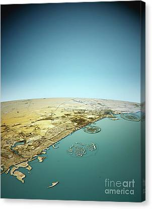 Dubai 3d View North-south Natural Color Canvas Print