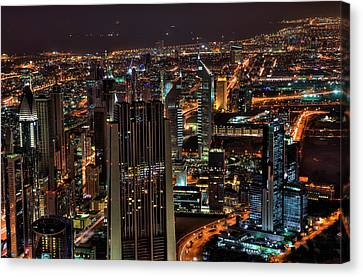 Dubai At Night Canvas Print by Shawn Everhart