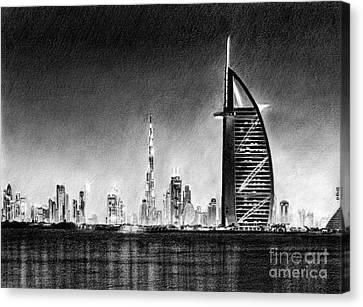 Dubai Cityscape Drawing Canvas Print