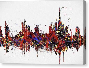 Dubai Colorful Skyline Canvas Print