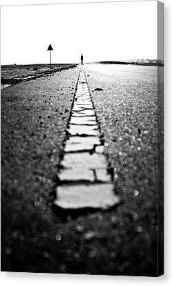 Dubai Ghost Road, Yellow Line, Roller  Canvas Print