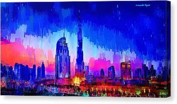 Dubai Skyline 100 - Pa Canvas Print by Leonardo Digenio