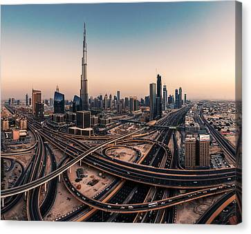 Dubai Skyline Panorama Canvas Print by Jean Claude Castor