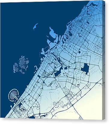 Dubai Two-tone Map Artprint Canvas Print by Knut Hebstreit