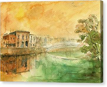 Dublin Ha'penny Bridge Painting Canvas Print by Juan  Bosco