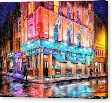 Canvas Print featuring the painting Dublin In The Rain by Mark Tisdale