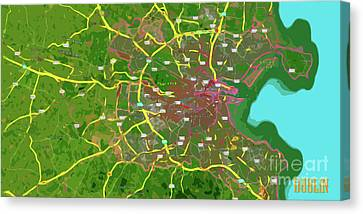 Dublin, Ireland, Green Old Traffic Abstract Map Canvas Print by Pablo Franchi