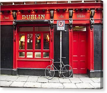 Dublin Red Pub Canvas Print by Rae Tucker
