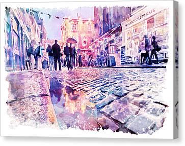 Europe Digital Art Canvas Print - Dublin Watercolor Streetscape by Marian Voicu