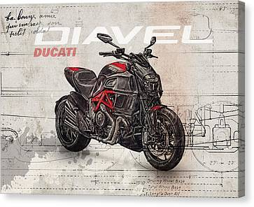 Cruiser Canvas Print - Ducati Diavel 2015 by Yurdaer Bes