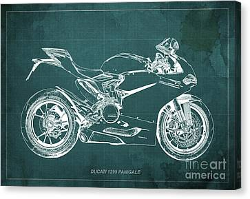 Ducati Superbike 1299 Panigale 2015, Gift For Men, Green Background Canvas Print
