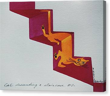 Duchamp's Cat Descending A Staircase  No. 2 Canvas Print by Eve Riser Roberts